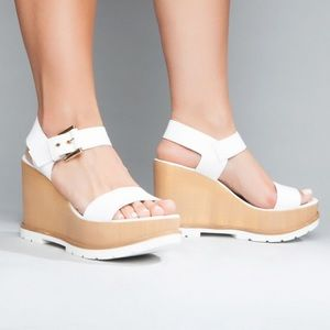 NEW White Italian Leather Wedge Platform Sandal
